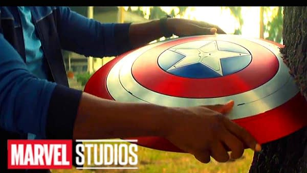 Sam Wilson takes the shield in The Falcon and the Winter Soldier, courtesy of Disney+.