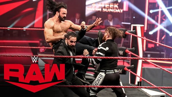 Drew McIntyre and Seth Rollins brawl in wild contract signing on Raw, courtesy of WWE.