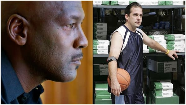 """Michael Jordan and Michael Scott (Steve Carell) from """"The Office"""": The Battle of the Best Michael, images courtesy of ESPN and NBC Universal."""