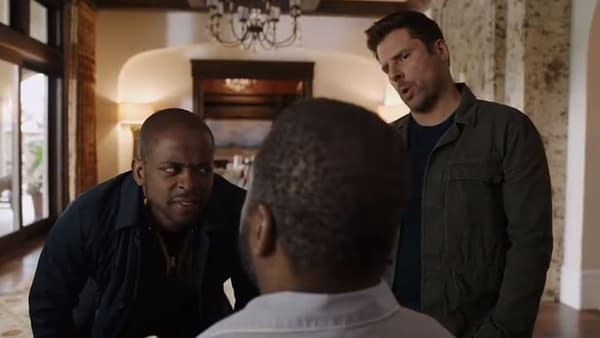 Gus isn't sure he heard Shawn right on Psych, courtesy of NBCUniversal and Peacock.
