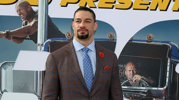 """Roman Reigns at the """"Fast & Furious Presents: Hobbs & Shaw"""" Premiere at the Dolby Theater on July 13, 2019 in Los Angeles, CA. Editorial credit: Kathy Hutchins / Shutterstock.com"""