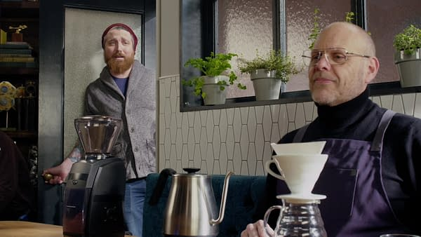Alton Brown's appreciation of good coffee is interrupted on Good Eats: Reloaded, courtesy of Cooking Channel.