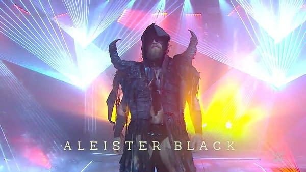 Aleister Black makes his entrance at WrestleMania 36