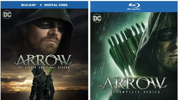 "Arrow Season 8 and Complete Series, featuring a bonus disc of all 5 episodes of ""Crisis on Infinite Earths"""