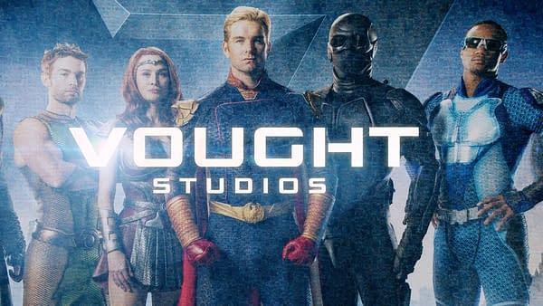 Vought Studios logo on The Boys, courtesy of Amazon Studios.