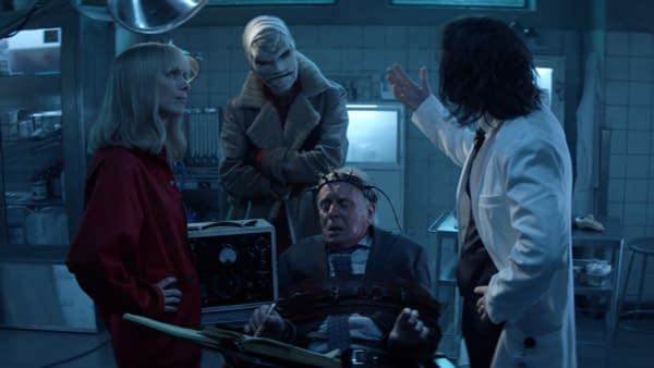 Rachel Skarsten as Alice, Gabriel Mann as Hush, Linden Banks as Professor Carr, and Sam Littlefield as Mouse in Batwoman, courtesy of The CW.