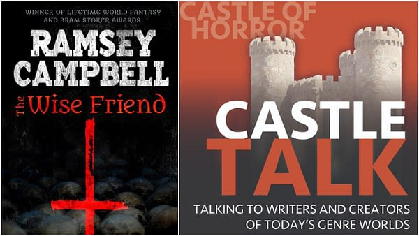 The cover of The Wise Friend by Ramsey Campbell. The logo for the Castle Talk Podcast and used with permission.