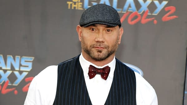 Dave Bautista at the Los Angeles premiere of 'Guardians Of The Galaxy Vol. 2' held at the Dolby Theatre in Hollywood, USA on April 19, 2017. Editorial credit: Tinseltown / Shutterstock.com