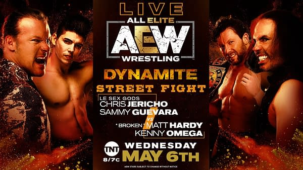 Matt Hardy and Kenny Omega take on Chris Jericho and Sammy Guevara on AEW Dynamite tonight.