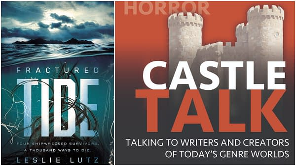 L-R: The cover of Fractured Tide by Leslie Lutz. Credit: Blink/HarperCollins. The official logo for the Castle Talk podcast and used with permission.
