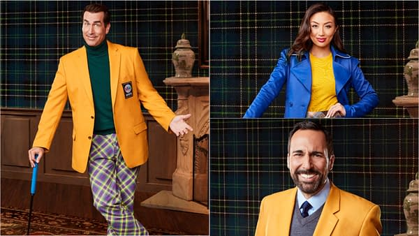 Commentators Rob Riggle and Joe Tessitore, and sideline correspondent Jeannie Mai are a part of Holey Moley season 2, courtesy of ABC.