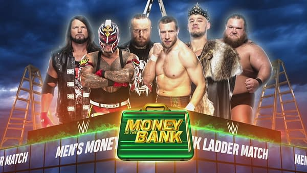 AJ Styles, Rey Mysterio, Aleister Black, Daniel Bryan, Baron Corbin, and Otis compete for a Money in the Bank contract.