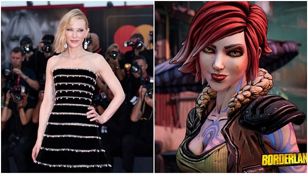 """L: Cate Blanchett attends the premiere of the movie """"Joker"""" during the 76th Venice Film Festival on August 31, 2019 in Venice, Italy. Editorial credit: Andrea Raffin / Shutterstock.com R: Screencap of Lilith from Borderlands 3. Credit//2K Games"""
