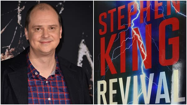 "L: Mike Flanagan at the US premiere of ""Doctor Sleep"" at the Regency Village Theatre. Editorial credit: Featureflash Photo Agency / Shutterstock.com R: The cover of Revival. Credit: Scribner"