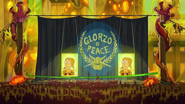 Glorzo in peace on Rick and Morty, courtesy of Adult Swim.