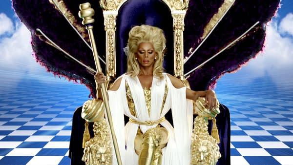 RuPaul holds court on Drag Race season 5, courtesy of Logo TV.