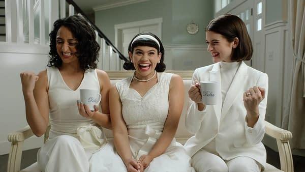 Sandy Honig, Mitra Jouhari, and Alyssa Stonoha star in Three Busy Debras, courtesy of Adult Swim.