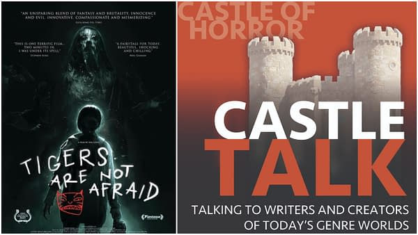 Official Poster of Tigers are Not Afraid and the Logo of the Castle Talk Podcast