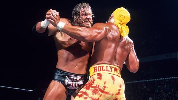 Triple H takes on Hulk Hogan, courtesy of WWE.