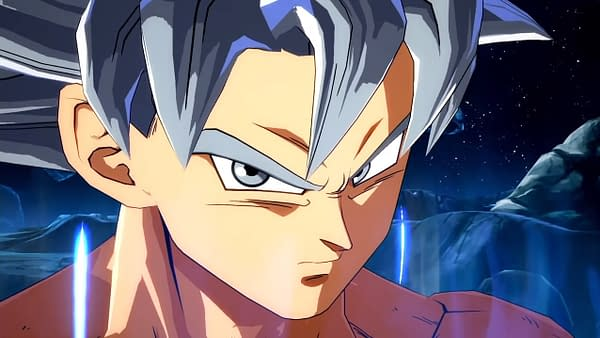 Ultra Instinct Goku staring you down in Dragon Ball FighterZ.