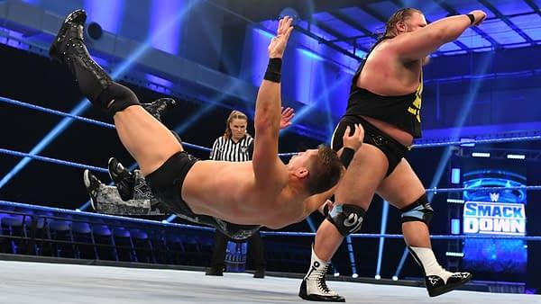 Otis takes down The Miz, courtesy of WWE.