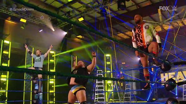 Daniel Bryan, Drew Gulak, and Otis enter the ring on SmackDown, courtesy of WWE.