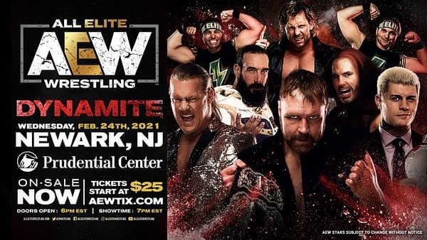 An updated graphic for the AEW Dynamite episode now set for February in Newark, New Jersey originally called Blood and Guts.
