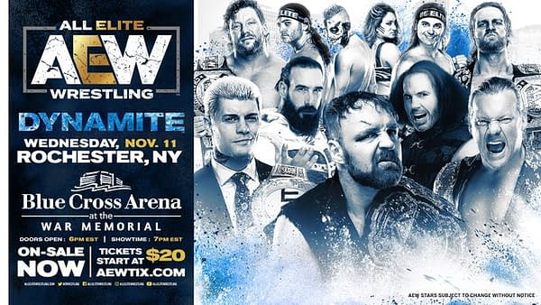 An updated graphic for the AEW Dynamite episode now set for November in Rochester, New York.