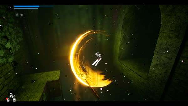 A screenshot of action-adventure indie game Blue Fire, created by Graffiti Games and Robi Studios.