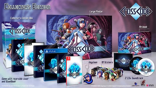 An array of products for CrossCode, an indie game by ININ Games, Deck13, and Radical Fish Games.