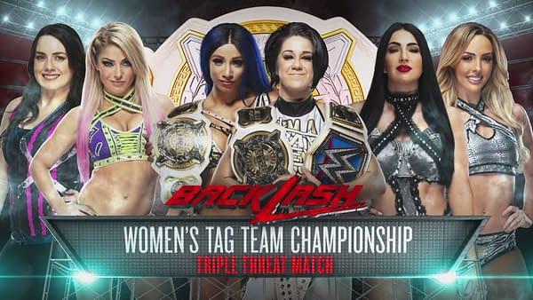 Bayley and Sasha Banks Defend the Tag Team Championships Against Alexa Bliss and Nikki Cross and The Ilconics. (WWE)