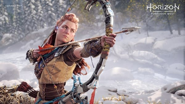 Aloy is back, she's headed west, and she ain't singing any songs along the way. Courtesy of Guerrilla Games.