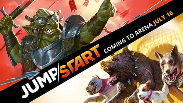 The announcement header for the Jumpstart expansion set on Magic: The Gathering Arena, coming July 16th.