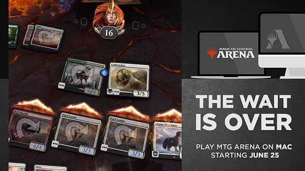 Header art for Magic: The Gathering Arena's announcement about being launched on Mac computers.