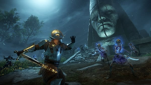 Another screenshot from New World, an MMO by Amazon Game Studios, wherein a character is facing down a bunch of skeleton warriors.