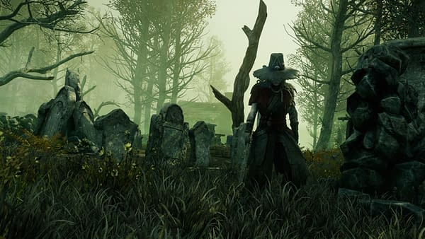 A screenshot from New World, showing a guard in the bog. New World is an upcoming MMORPG from Amazon Game Studios.