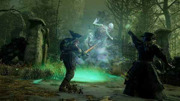 Another screenshot from New World by Amazon Game Studios, showing the players facing down a ghost.