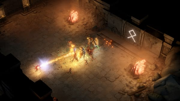 A screenshot from Pathfinder: Kingmaker Definitive Edition, depicting a battle in a far-away dungeon.