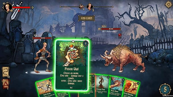 An example screenshot of the combat interface of the indie game Deck of Ashes.