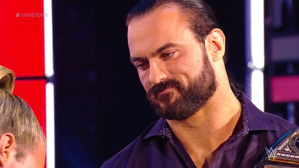 A scene from WWE Monday Night Raw 6/22/20 featuring Drew McIntyre