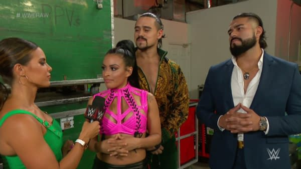 Zelina Vega appears on WWE Raw with Charly Caruso, Angel Garza, and Andrade.