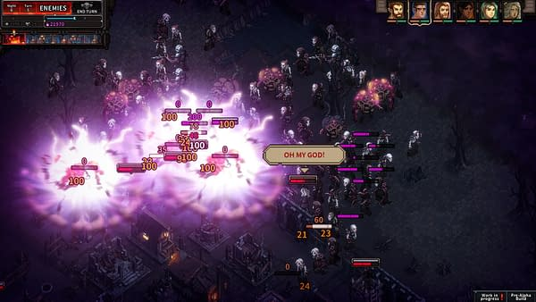 Another screenshot from indie tactical-defense RPG The Last Spell, showcasing the throes of combat.