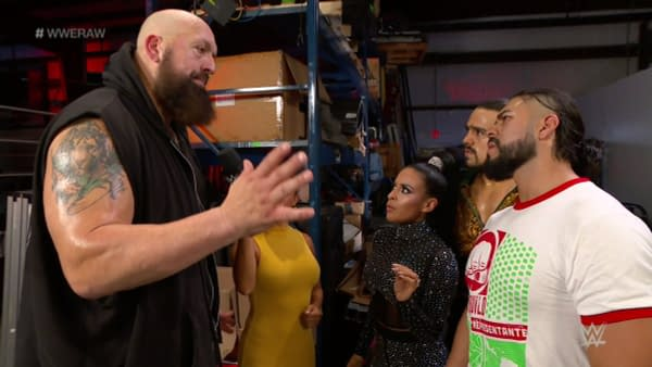 Big Show talks to Zelina Vega, Angel Garza, and Andrade backstage.