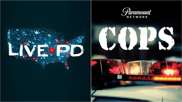 The logos for Live PD (from A&E) and Cops (from Paramount Network).