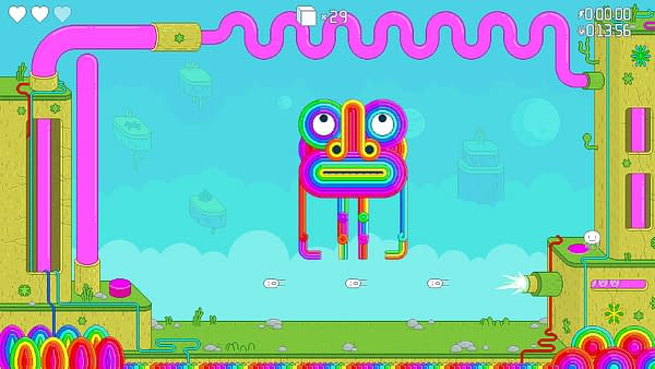 A psychedelic screenshot from Spinch, an indie platformer by developer Queen Bee Games and publisher Akupara Games.
