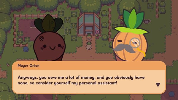 A screenshot from Turnip Boy Commits Tax Evasion by indie developer Snoozy Kazooo and publisher Graffiti Games.