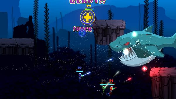 Another screenshot from Swimsanity!, an underwater indie shooter game developed by Decoy Games. The screenshot features players fighting off a large shark.