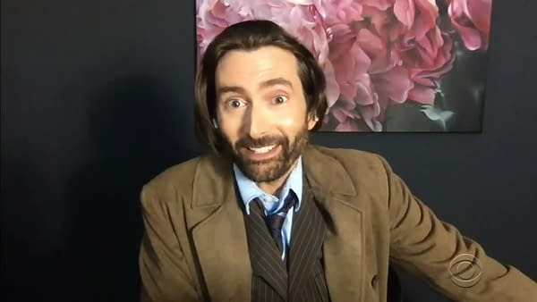 Doctor Who star David Tennant on Late, Late Show with James Corden (Image: ViacomCBS)
