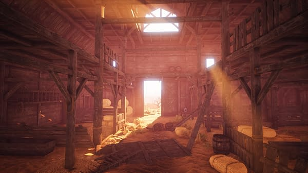 A screenshot from Cowboy Life Simulator by indie developer Rock Game and publisher Playway. The screenshot depicts the interior of your old, dilapidated barn.