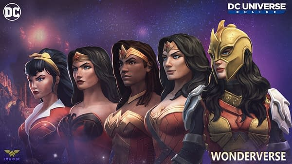 A Wonder Woman for every dimension comes together in DC Universe Online, courtesy of Dimensional Ink Games.